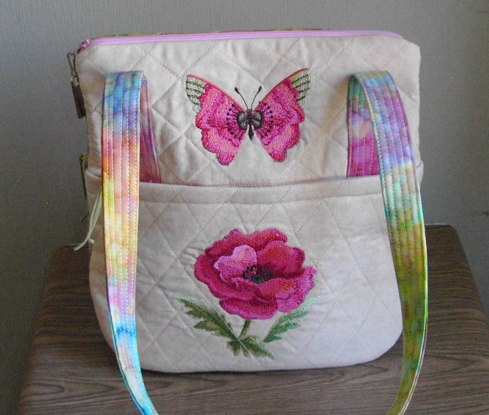 Quilted purse small with embroidered rose and butterfly