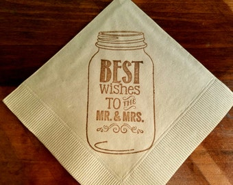 Rustic Light Burlap Mason Jar Best Wishes to the Mr and Mrs Wedding Paper Cocktail Napkins in Coffee ink- set of 50
