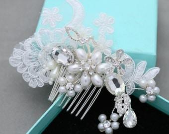 Lace Hair Comb, Wedding Hair Comb, Flower Leaf Wedding Hair Comb, Rhinestone Crystal Faux Pearl Hair Accessories