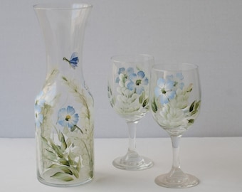 Painted glassware Carafe and 2 glasses blue and white flowers