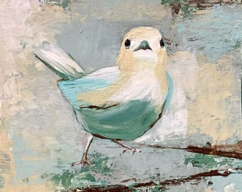 """Title """"Blue Bird I"""" Original little bird painting"""