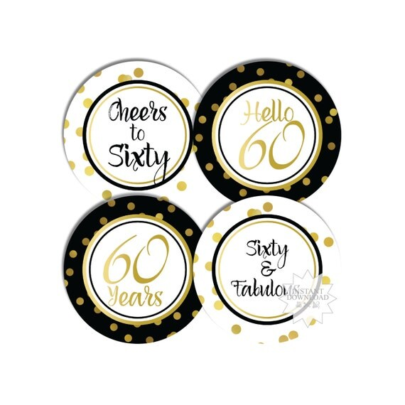 60th Black Amp Gold Cupcake Toppers 60th Birthday Party Tags