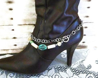 Bohemian Style Boot Jewelry, Turquoise and Ivory with Large Decorative Lobster Clasp. Great Gift Idea. FREE Shipping in the USA