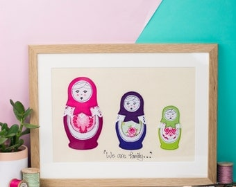 Russian doll art - Children's room artwork - New baby gift - Freehand machine embroidery - framed textile - appliqué art - Russian doll art
