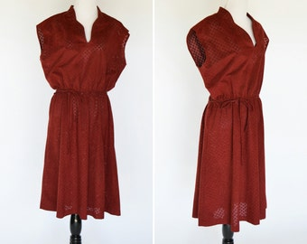 Vintage 1970's red rustic Dress - red casual midi summer dress - ladies size medium to large