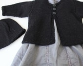 Black Baby Cardigan and Matching Hat - Newborn - Hand knitted in Pure Wool