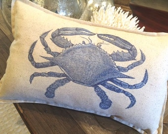 Blue Crab Lumbar Pillow, 12 x 18, Coastal Nautical Beach Seashore Summer