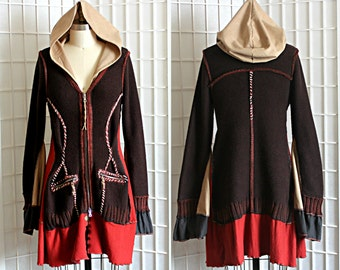Upcycled Sweater Jacket Hoodie Brown Rust Orange Oversized Hood Bohemian Bell Sleeves Recycled Clothing Size Medium