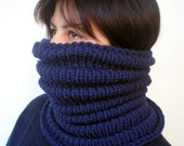 RESERVED Navy Blue Wave   Cowl Super Soft  Neckwarmer Women / Men Chunky Pure Merino Wool Cowl NEW