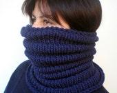 RESERVED Navy Blue Wave   Cowl Super Soft  Neckwarmer Women / Men Chunky Pure Merino Wool Cowl NEW