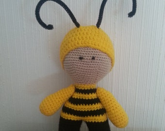 "Handmade Crochet Doll,""BEE"" Stuffed Toy, Gift For Kids, Amigurumi Yo-Yo"
