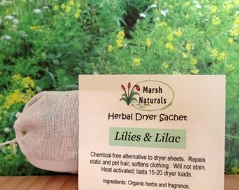 Lilies & Lilac Dryer Sachet | Eco Friendly | Chemical Free | Dryer Sheet Alternative