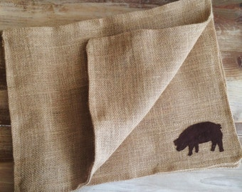 Set of 4- Farm Animal Themed Natural Burlap Placemats-Double Sided- Pig-Cow-Horse-Rooster-Goose-Lamb-Rustic/Country/Folk Decor-Custom Colors
