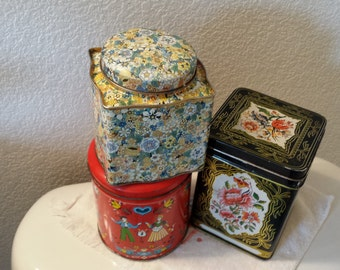 Vintage tin cans set of THREE for 25.00 Cabin decor  use able cans pretty decor