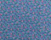 Cotton Floral Fabric, Cotton Quilting Fabric, Pansy Fabric, Pink and Purple, Teal Fabric Remnant, Sewing Fabric - 1 1/2 Yard - CFL1720