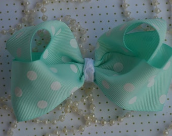 "Aqua & White Polk a Dots 4"" Hair Bow, Boutique Hair Bow, Hair Accessory, Bow Clips, Hair Bow Alligator Clip, Hair bows, Hair Boutique Bow"