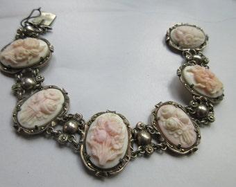 Vintage Carved Cameo Coral bracelet, Floral Cameos, Cameo Bracelet, Floral Jewelry, 1920s cameo, Carved Flowers, Fine Estate Jewelry, Gifts
