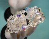 Clear Crystal Bead Triple Strand Bracelet, Ornate Rhinestone Clasp