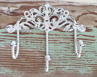 Decorative Wall Hook /  White Distressed Shabby Chic Hook  / French Country Decor / Key Hook / Jewelry Hook / Scarf Holder / Organization