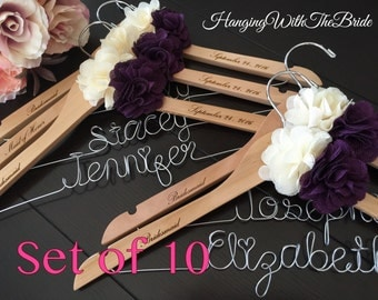 Set of10---Personalized Hanger,  Custom Bridal Hangers,Bridesmaids gift, Wedding hangers with names,Custom made hangers