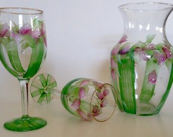 Hand painted wine glasses, carafe wiith rosebuds