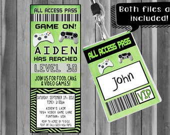 Video Game Party Invitation/ Ticket Invitation/ VIP Pass/ Custom Invitation/Bonus File