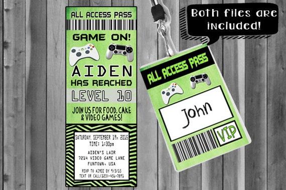 Video Game Party Invitation Ticket Invitation VIP Pass – Video Game Party Invitation
