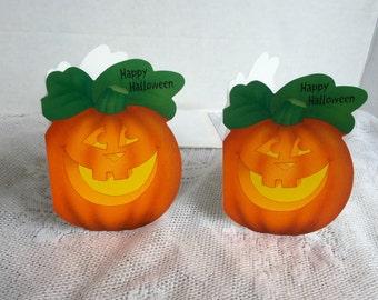 Vintage Halloween Pumpkin Cards and Envelopes / Set of Two Hallmark Jack o Lantern Pumpkins / Halloween Party cards