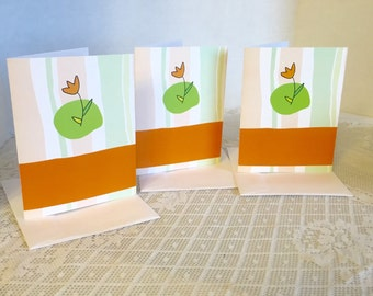 Vintage Green and Orange Tulip Blank Note Cards and Envelopes