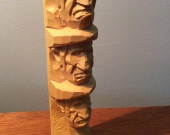 Harold Enlow Study Sticks Carving Woodcraft Art Gallery Vintage Totem Pole Man 1981 Resin