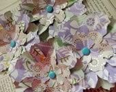 PAPER FLOWERS set/4 Floral Lavender Green Aqua White