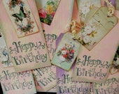 TAGS HAPPY BIRTHDAY - set/6 - large, double, handstamped with ties