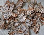 BUTTERFLY DIE CUTS Set/4 Embossed Inked Acid Free Cardstock Brown Rust Caramel Shabby Chic