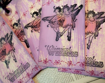 TAGS set/3 LARGE Individually Handmade FAIRIES Whimsical Wishes Purple Pink Burgundy