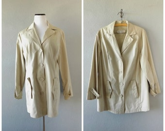 Minimal Tan 60s Trench Midi Jacket Vintage Womens Size 18 1/2 Large Lightweight Basic Brown Coat Hipster Preppy 1960s Minimalist Outwear Top