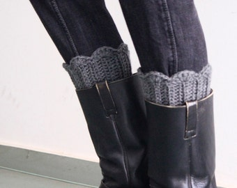 Grey leg warmers, crochet boot toppers, winter fashion, chunky boot cuffs
