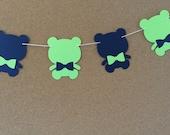 Bear garland, baby shower garland, teddy bear garland, paper garland, Navy and lime green bear garland