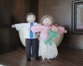 Dollhouse Family, Poseable Bendy Doll People, Dad Mom and Baby, Bendy Heaven