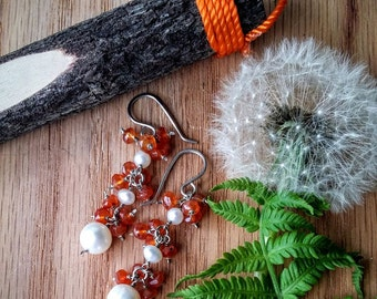 Natural Faceted Orange Carnelian And Freshwater Pearl Gemstone Earrings E-0430
