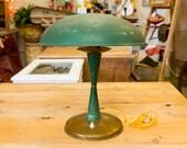 Art Deco, Italian, stylish table lamp. Vintage, Antique, Green Metal lamp, Retro, Deco, Designer