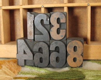 Set of 7 Small Numbers Vintage Wood Type for Letterpress Printing