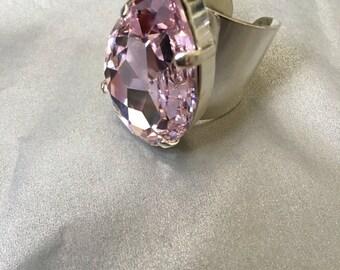Large Swarovski vintage pink crystal silver filled adjustable ring