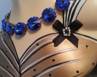 Antique silver deep blue Swarovski crystals necklace