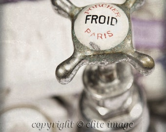 PAIR of TWO:  Hot (Chaud) and Cold (Froid) French Bathroom Faucet Handles Antique Vintage Feel - Two Photographic Prints (P11G)