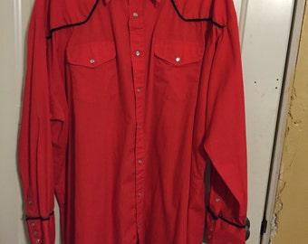 Shepler vintage western shirt long sleeve tall 20-37 cowboy rodeo square dance Halloween