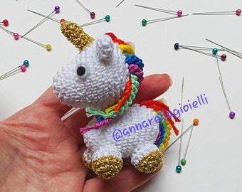 Unicorno amigurumi, uncinetto, annarella gioielli, crochet, unicorn, pendant, charm, keychain, portachiavi, bomboniera, bimbo, bimba, animal