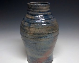 Raku Pottery - Blue Vase - Handmade Pottery