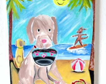 """Dogs at the Beach-Original Acrylic Painting-One of a Kind-11""""x14"""" Canvas-Dog Surfing-Summer Fun-Whimsical-Fun-Sunny Sky-Beach Day"""