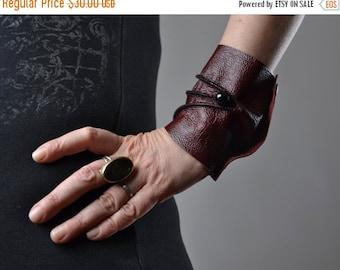 SUMMER SALE Burgundy Leather Cuff Bracelet - Leather Cuff Bracelet - Leather Cuff - Summer Accessories - Handmade Leather Cuff