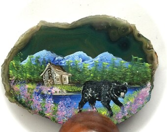 Hand Painted Brazilian Agate Summer Cabin and Black Bear